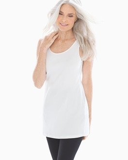 Pima Cotton Tunic Layering Tank White