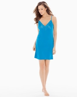 Natori Feathers Sleep Chemise Caribe Blue
