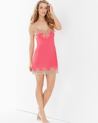 Natori Slinky Lace Sleep Chemise Coral With Cafe Lace