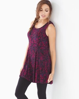 Soft Jersey Princess Seam Tunic Tank Enchanting Black Berry
