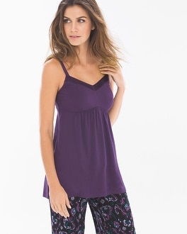 Cool Nights Satin Trimmed Pajama Cami Blackberry
