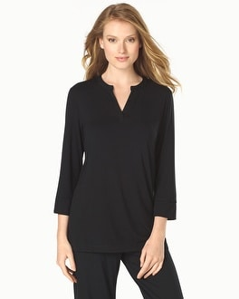 Cool Nights Popover Pajama Top Black