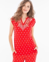 Embraceable Cool Nights Pop Over Cap Sleeve Pajama Top Cape Paisley Placement Poppy