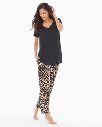 Cool Nights Ankle Pants Pajama Set Lovely Leopard Natural
