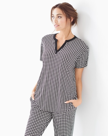 Pop Over Pajama Top Houndstooth Ivory