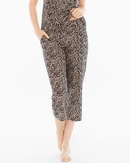Embraceable Cool Nights Crop Pajama Pants Zebra Palm Soft Tan