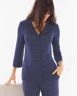Cool Nights 3/4-Sleeve Notch Collar Pajama Top Fine Geo Navy