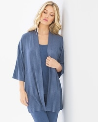 Cool Nights Pajama Wrap Serene Stripe Heather Ink