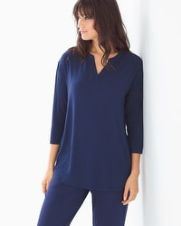 Cool Nights 3/4 Sleeve Pop Over Top Flourish Navy