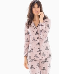 Embraceable Long Sleeve Notch Collar Pajama Top Fly Vintage Pink