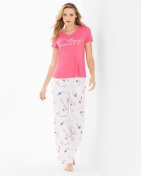 Cool Nights Short Sleeve/Pants Pajama Set Rose All Day