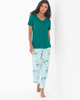 Cool Nights Short Sleeve/Ankle Pants Pajama Set Pastoral Paisley Ivy