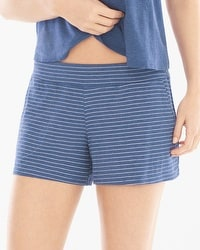 Cool Nights Full Tap Pajama Shorts Serene Stripe Heather Ink