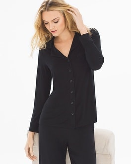 Cool Nights Long Sleeve Notch Collar Pajama Top Black