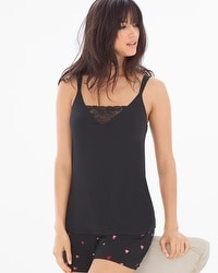 Cool Nights Pajama Cami With Lace Black