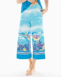 Cool Nights Full Pajama Crop Pants Panorama Beach Blue Sea