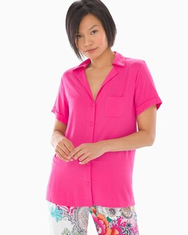 69014f198e Cool Nights Short Sleeve Notch Collar Pajama Top Summer Berry