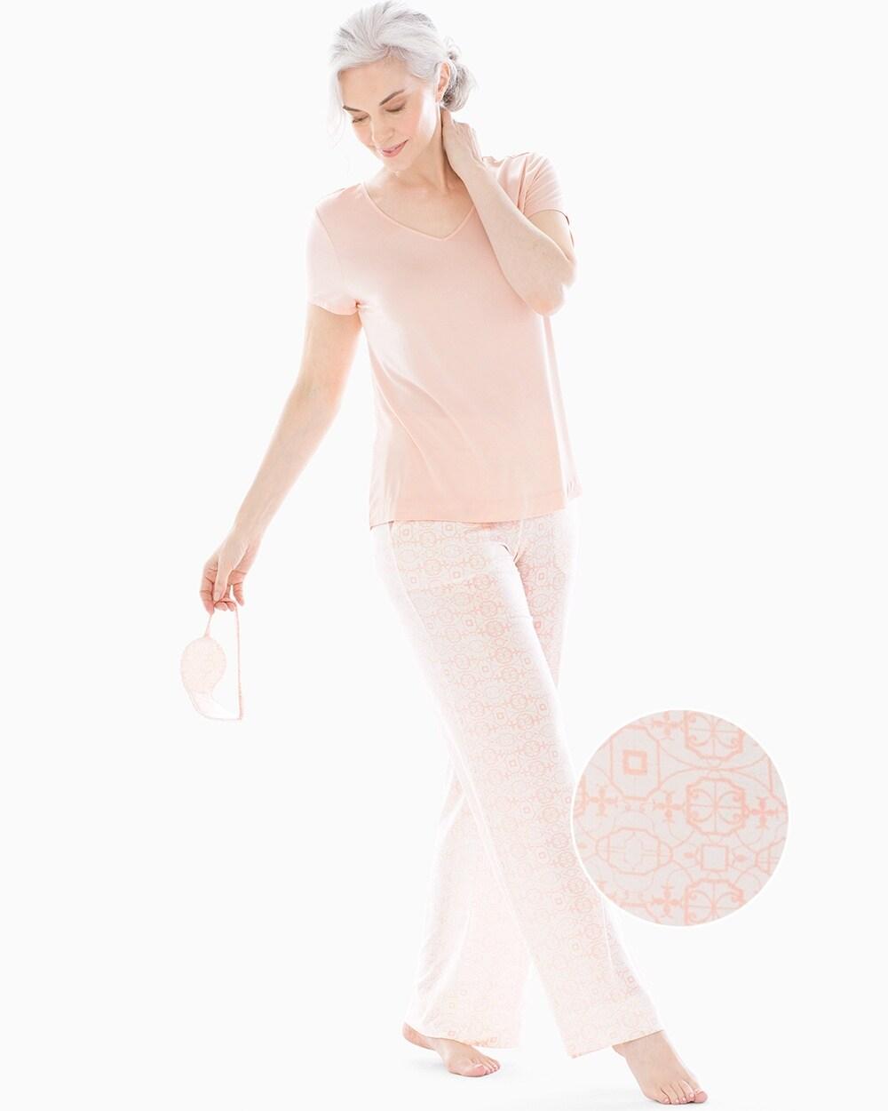Cool Nights V-Neck Short Sleeve Pajama Set with Eyemask Serene
