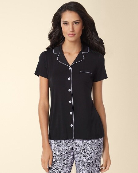 Short Sleeve Notch Collar Pajama Top Black