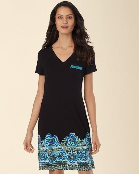 V-Neck Sleepshirt Painted Batik Black
