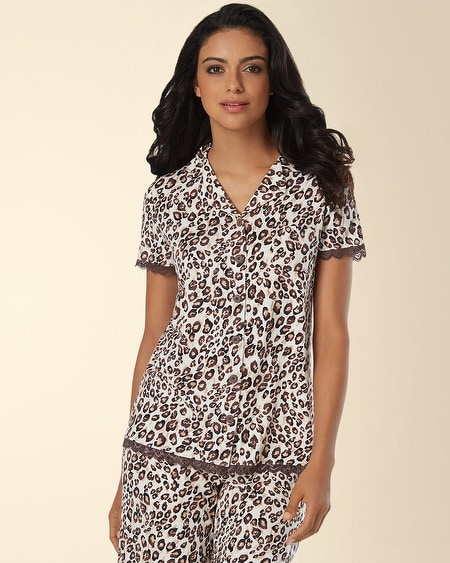 Notch Collar Lace Pajama Top Sketched Skin
