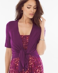 Short Sleeve Convertible Wrap Henna Plum