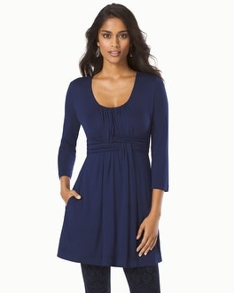 Live. Lounge. Wear. Soft Jersey Wrapped Waist Tunic Navy
