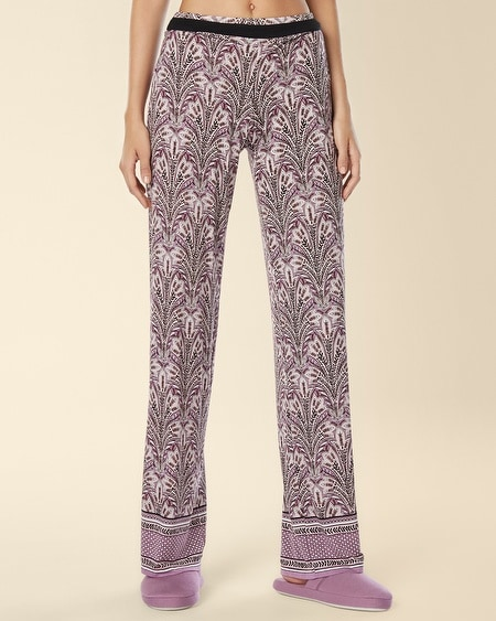 Long Inseam Pajama Pant Fall Foliage Border