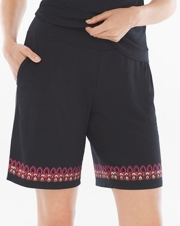 Embraceable Cool Nights Bermuda Pajama Shorts Frolic Embroidery Border Black