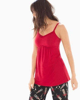 Cool Nights Satin Trimmed Pajama Cami Ruby