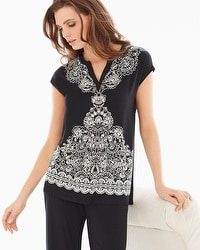 Embraceable Cool Nights Pop Over Pajama Top Delft Black Placement