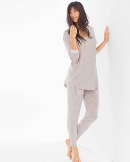 Cool Nights 3/4 Sleeve Pajama Set Pink Heather Silver Stripe