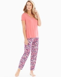 Cool Nights Ankle Pants Pajama Set Speckled Coral Hype