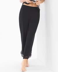Cool Nights Lace Trim Ankle Pajama Pants Black