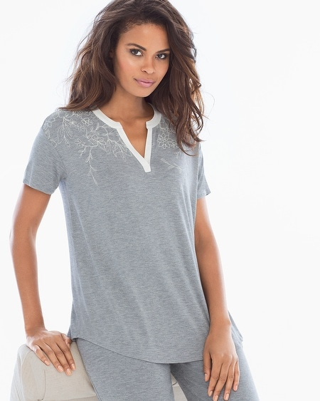 Pop Over Pajama Top Content Placement Heather Silver