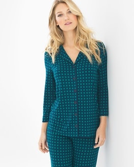 Cool Nights 3/4-Sleeve Notch Collar Pajama Top Arbor Plaid Green Envy