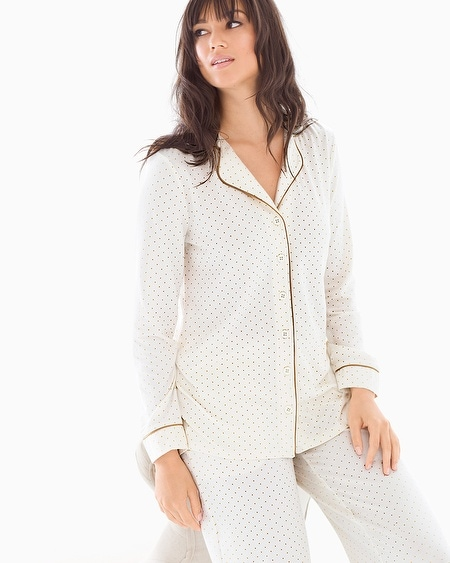 Long Sleeve Notch Collar Pajama Top Pin Dot Gold Foil Ivory