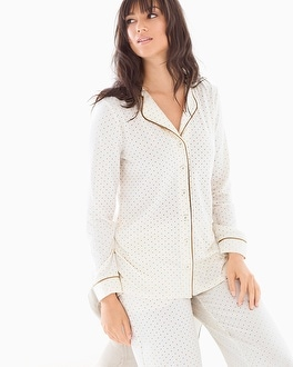 Embraceable Long Sleeve Notch Collar Pajama Top Pin Dot Gold Foil Ivory