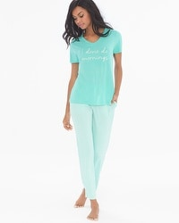 Cool Nights Ankle Length Pajama Set Maritime Stripe Green