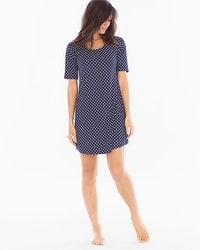 Cool Nights Loose Fit Short Sleeve Sleepshirt Delightful Dot Navy