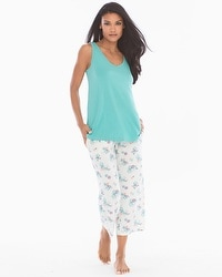 Cool Nights Tank/Crop Pants Pajama Set Bloom Teal Treasure