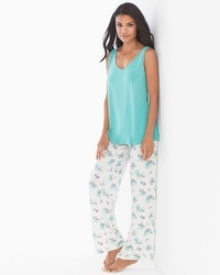 Cool Nights Tank/Pants Pajama Set Bloom Teal Treasure