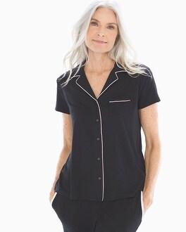 Short Sleeve Notch Collar Pajama Top Black by Cool Nights