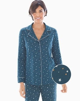 Embraceable Long Sleeve Notch Collar Pajama Top Celestial Shadow Blue by