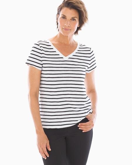 9ecea297408e Soma Intimates. Cotton Blend Slub Short Sleeve Tee White/Black