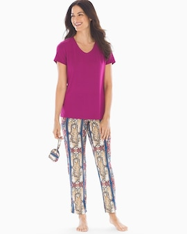 1b1142d603c Cool Nights V-Neck Short Sleeve Ankle Length Pajama Set with Eyemask Retro  Jungle W Magenta