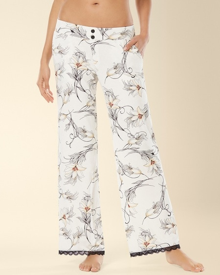 Lace Pajama Pant Glamour Floral Ivory