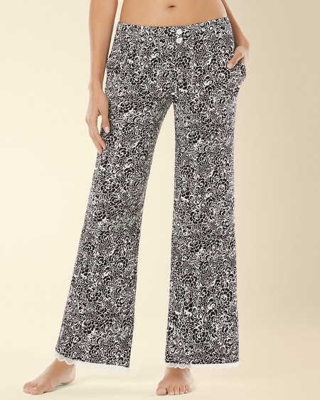 Lace Pajama Pant Inked Floral Black