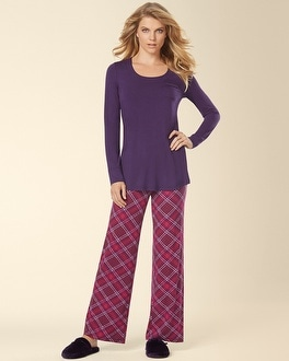 Embraceable Cool Nights Long Sleeve Pajama Pant Set Modern Plaid Blackberry