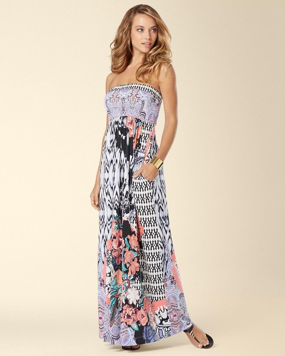 1b25bdfd4f Smocked Strapless Maxi Dress Arcade Floral Blue Iris - Soma